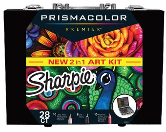 Sharpie and Prismacolor Coloring Kit with Permanent Markers, Art Pens and Colored Pencils, 28 Count