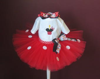 Baby Toddler Minnie Mouse Tutu with Embroidered T-Shirt Tutu Set With Matching Hair Bow on a Headband Size: 18 Months~ Ready to Go!
