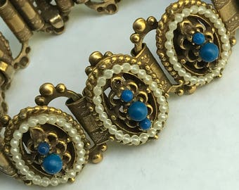 Vintage Victorian revival Bracelet .  Bangle . Costume Jewelry