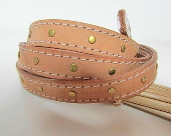 20 cm Strip 1.4 cm flat vegetable Tan Leather studded - eco leather - 3.78