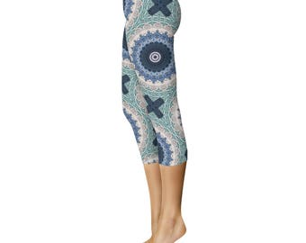 Boho Beach Capri Leggings - Ocean Blue Mandala Designed Leggings, Bohemian Style Yoga Pants