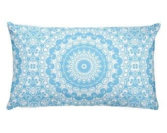 Baby Blue Pillow, Decorative Throw Pillow, 20x12 Lumbar Pillow, Blue and White Mandala Design Rectangle Cushion
