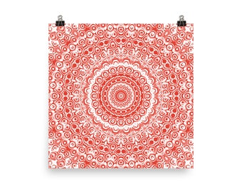 Vermillion and White Mandala Art, Red Wall Art, Abstract Wall Decor, Poster Prints