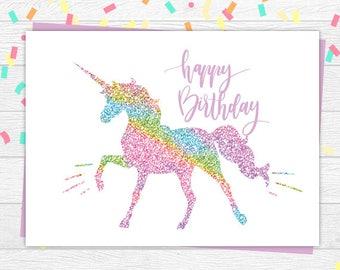 Nerdy image within unicorn birthday card printable