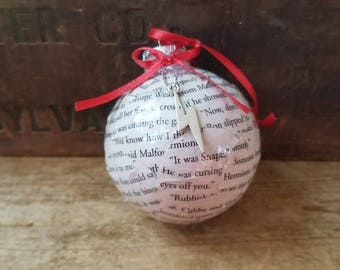 Harry Potter book pages ornament,  upcycled book page ornament, book lover gift