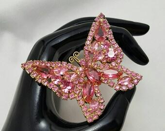 Pink Rhinestone Butterfly Pin