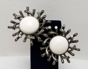 Large White Cab Earrings