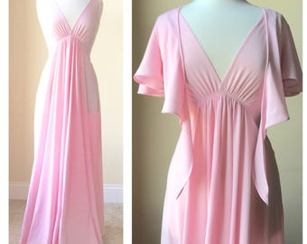 Pink maxi dress w/ matching shrug & slip dress. Fits a women's US small / medium.