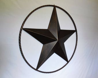"""38"""" LONE STAR Barn Star with Rope Ring Design Western Home Decor Rustic Bronze NEW"""