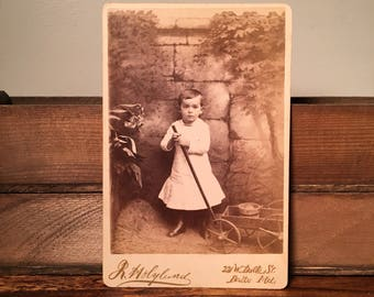 Cabinet Card of a Cute Kid with a Wagon, 19th Century Antique Photograph