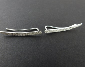 Climber earrings Silver crawlers Crawler earring Modern earrings Natural jewelry Minimalist earring Spring gift Gifts for her