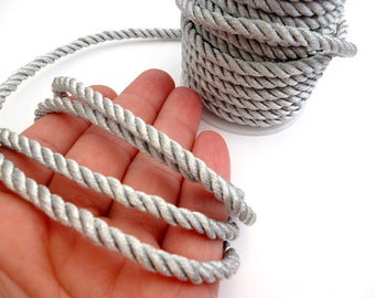 Silver 5 mm Braided Silk cord_PP0015202347_Braided Cords_Silver_bobbin OF 5 meters _5/46 yards