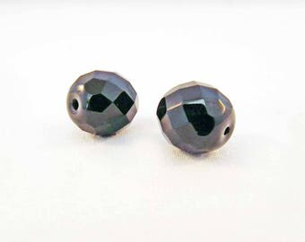PAC91 - 2 beads gemstone black with iridescent 12mm X 10mm faceted Crystal