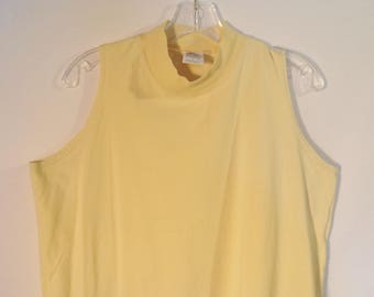 Vintage Russell Athletic mock neck tank top// 90s minimalist yellow cotton made in USA sleeveless t shirt// Women's size large L