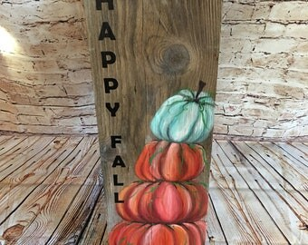 Happy Fall porch sign, pumpkin porch sign, outdoor pumpkin Happy Fall porch sign, orange pumpkin Halloween decor, fall decor, thanksgiving