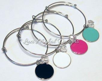 Monogrammed Enamel Disc Bangle Bracelet