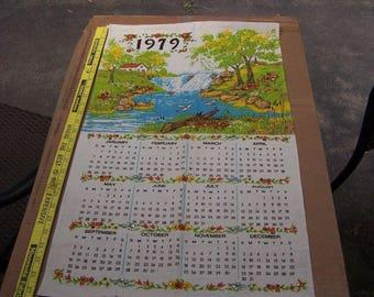 Vintage Linen Kitchen Calendar 1979 Barn, Mill, Church, Waterfall