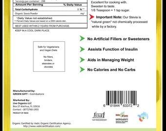 Live Organics Stevia Powder 4 oz > 1 lb - Certified USDA Organic