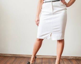 SALE Vintage White Pencil Skirt High Waist Office Skirt 90s Secretary Skirt Size L Skirt Cotton Skirt High Waisted Skirt Front Zipper Pocket