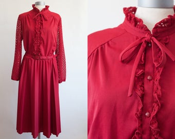 Red vintage dress / Decorated vintage fashion/ 1970's Eurofashion Made in UK