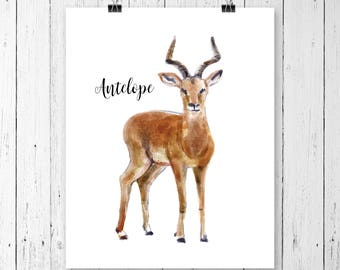 Antelope Art Print | Safari Animal | Nursery Art | Watercolor | Gallery Wall | Instant Download | Digital Print | JPEG | 11x14 | 096