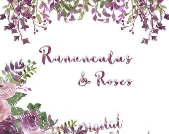 Watercolor Clip-art, Purple Ranunculus Watercolor Florals, Rose Clip-art, Ranunculus Clip-art, Purple Floral Clip-art, No. WC62