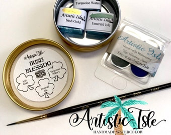 Irish blessing, half pan, watercolor, saint patricks day, clover, irish luck, irish, lucky, handmade paint, handmade watercolor