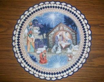 "New Handmade Crochet Doily-13"" Diameter/Christmas NativityUnique Gift"