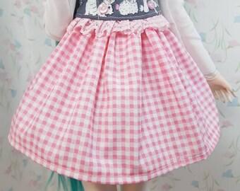 DD/SD Pink checkered skirt for dollfie dream sd
