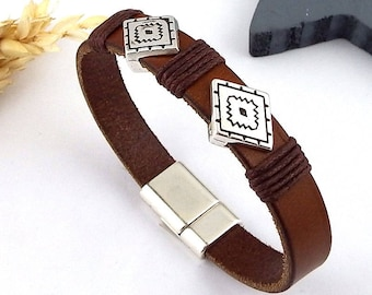 Brown men leather bracelet boho ethnic beads silver plated