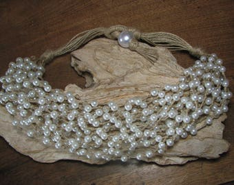 "Necklace ""Cascade"" rustic wedding linen and white pearls"
