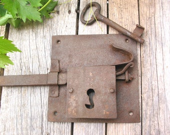 Hand forged lock etsy for 18th key of the door
