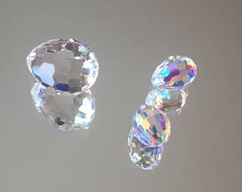 Swarovski Crystals - Plump Teardrop Bead - 2 Choices: 15x11mm Crystal Clear and 10x7mm Crystal AB  - Sold Individually (#732)