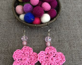 Pink crochet flower earrings, crochet earrings, flower earrings, crochet jewelry, gifts for her, crochet accessories
