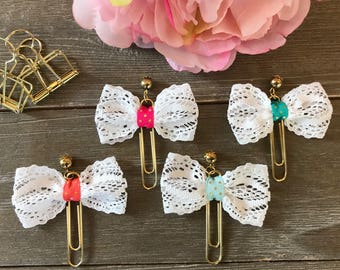 SWEET BLISS White Lace Fabric Bow Planner Clip with Gold Bead Charm