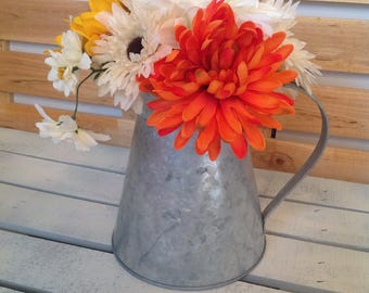 Sunflower Arrangement, Fall Arrangement, Thanksgiving Arrangement, Yellow and White Floral Arrangemet, Tin Container, Pitcher Floral