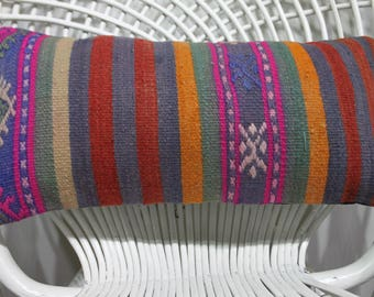 """kilim lumbar pillow 10"""" x 20"""" naturel kilim pillow lumbar pillow decorative kilim pillows orange pillow striped pillow  863"""