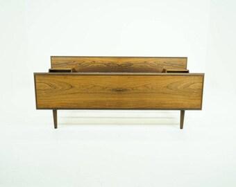 309-149 Danish Mid-Century Modern Rosewood Bed Frame European Queen Size