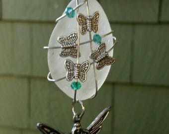 Lake Erie beach glass pendant with Sprite Faery.