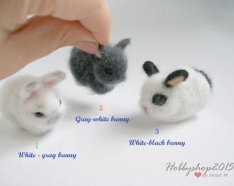 Home Décor Needle felt animal Tiny bunny Mini rabbit Felted bunny  animal Wool Rabbit Needle felt animal Doll house Wool felted rabbit Felt