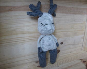 caribou entirely handmade with 100% cotton yarn toy
