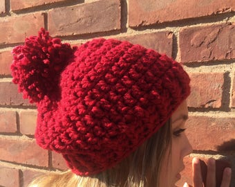 Crochet red women's slouchy hat made with chunky yarn, red slouchy hat women, red women's hat, red beanie