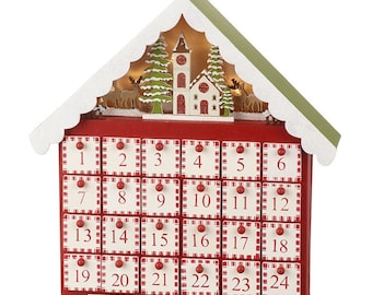 Wooden Christmas Advent Calendar, countdown, box, naughty or nice, suitable for kids and adults, December - Christmas Eve