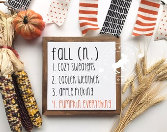 Fall Wood Sign // Fall Sign // Fall Definition // Fall Decor // Farmhouse decor // Pumpkin Decor