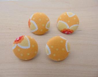 fabric 4 buttons x 19mm flowers orange TOUR6