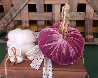 Medium Velvet Raspberry Plush Pumpkin with Real Pumpkin Stem