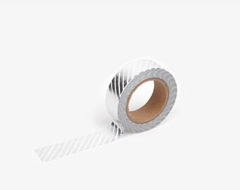 Dailylike Washi Tape : Pencil Obilique - Silver