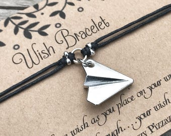 Paper Plane Wish Bracelet, Make a Wish Bracelet, Wish Bracelet, Friendship Bracelet, Paper Plane, Origami Bracelet, Gift for Her, Favour