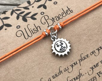Sun Wish Bracelet, Make a Wish Bracelet, Sun Bracelet, Wish Bracelet, Friendship Bracelet, Nature Bracelet, Gift for Her, Smiling Sun