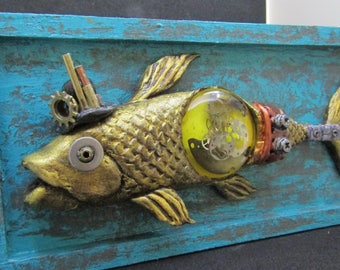 Fish paperclay, Nature, Fantasy Sculpture, WALL Decor, gears, rustic, STEAMPUNK Decoration